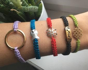Macrame bracelets - various colors and trailer
