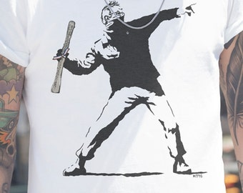 Bernie Sanders Banksy | Men's Unisex Graffiti Resistsance T-Shirt | Constitution Checks and Balances Political T-Shirt and Clothing