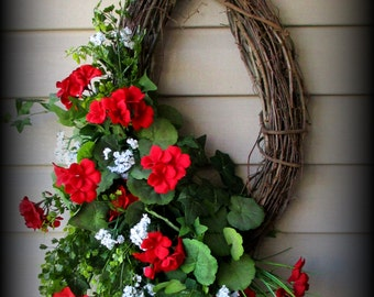 Oval Greenery Wreath with Red Geraniums , Greenery and Baby's Breath-  26""