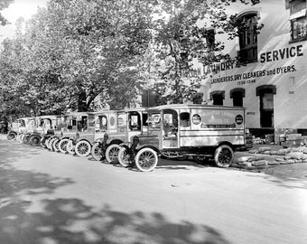 "1920-1925 Manhattan Laundry Service Trucks Vintage Photograph 8.5"" x 11"""