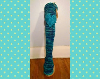 Chelsea Leg Warmers - Dance Leg Warmers - Woman's Leg Warmers - Knit - Crochet - Thigh High - Knee Pads -  Ocean Blue