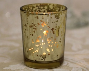 Gold Tea Light Holder Mercury Glass Candle Votive Vintage Wedding Decoration