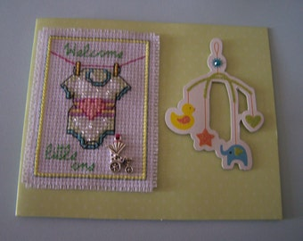 Cross Stitch Baby Card - Welcome Little One