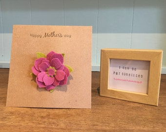 Handmade Forever flower wool/viscose broach/corsage card card and gift in 1