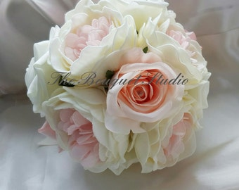 Artificial Peony and Rose Bridesmaid Bouquet