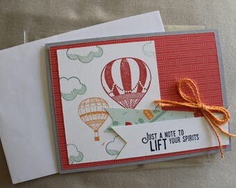 Colorful Stampin'Up! A Note to Lift Your Spirits Notecard with Hot Air Balloon