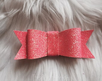 Pink glitter bow, pink bow, glitter bow, toddler bow, kids hair bows, kids bow, sparkle bow, Easter bow, pink, pink headband