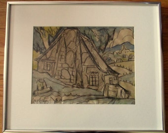M.A.FORTIN. Watercolor on the front + design on the back. Certificate of the Valentine's day Gallery