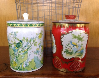 Vintage Tin Canisters set of 2 Bird/Garden Theme