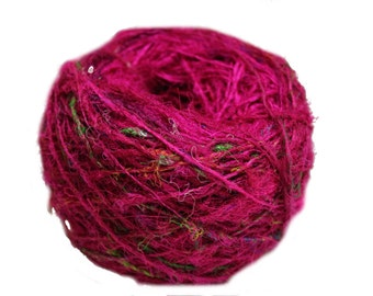 Recycled Sari Silk Yarn - Solid Color Pink 100 Grams