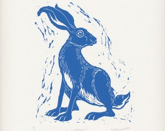 Original hand burnished linocut print of a hare entitled 'Watchful', limited edition, blue, original art, gift, hand made