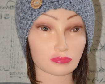 Handmade Knit Crochet Beanie, Hat with Button, in Grey