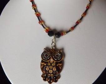 Owl Beaded Necklace in Autumn Colors