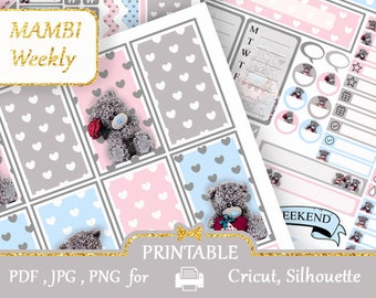 MAMBI Happy Planner Printable 2018 Weekly kit Teddy Bears Vertical Planner Stickers Half boxes My Happy Planner Pastel Color Silhouette
