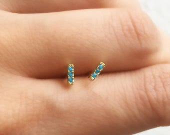 Turquoise Stud Earrings. Tiny CZ Earrings. Sterling Silver Studs. Dainty Studs. Minimalist Jewelry