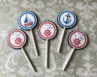 Nautical Theme Cupcake Topper. Nautical Theme Party. Nautical Party Supplies.