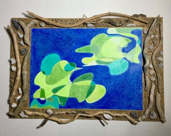 Abstract drawing, abstract picture, wall decor, home decor, colours, blue, green, decorative frame, wood, stones, wooden frame
