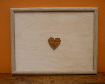 Framed Wedding Guest Board: Personalised Wooden Signature Guestbook Book