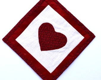 Handmade Potholder with Insulated Heat Resistant Lining and Heart Applique