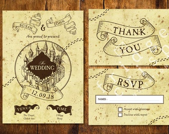 marauders map style wedding invitation wedding harry potter hogwarts themed unusual - Harry Potter Wedding Invitations