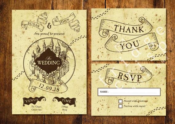 Marauder S Map Style Wedding Invitation Wedding Harry