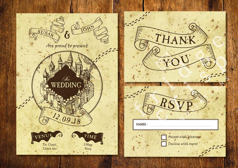 Print Map For Wedding Invitations: Marauder's Map Style Wedding Invitation Wedding Harry
