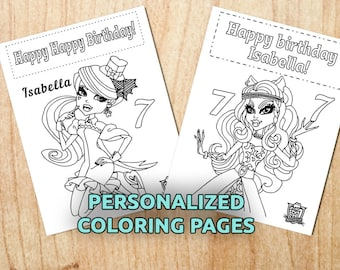 Monster High Birthday coloring pages / Personalized / Kids, Holiday / Printable