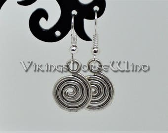 Spiral Earrings, Wicca Earrings, Pagan Earrings, Tribal Earrings, Spiral of Life Earrings, Tibetan Silver Gothic Earrings, Wicca Amulet
