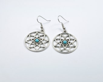 Silver and turquoise dream catcher earrings