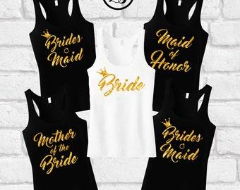 Bride shirt, Brides Maid Shirts, Bachelorette shirts, Maid of Honor tank, Bridal party shirts