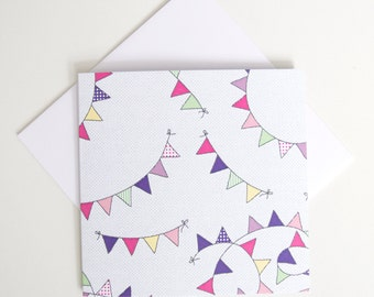 Greeting Card - Mini / Buntings Pink