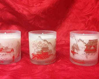 Japanese Art Decorated Soy Candle 3pc Set