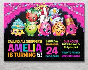 Shopkins Invitation, Shopkins Birthday, Shopkins Party Invite, Shopkins Card Printables, Printable Invitation, Shopville Digital Invites