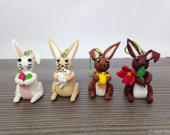 Polymer Clay Bunny with accessoiers/ unique handmade easter Decoration
