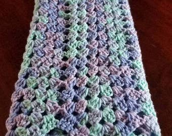 New born Baby blanket in ocean wave. Granny ripple stitch .gender neutral