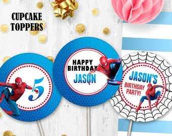 Spiderman Cupcake toppers Cake toppers Spriderman birthday table decor
