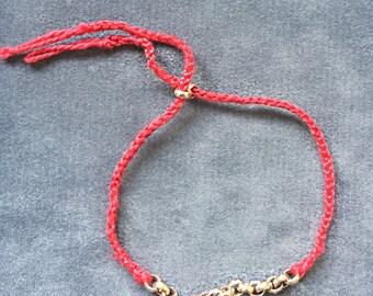 Victorian Gold Bracelet Vintage Handmade Braided Chain Jewlery