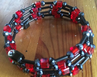 Red & Black Memory Wire Bracelet