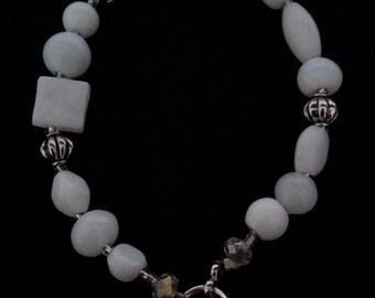 White Bracelet, Beaded Bracelet, Abstract Bracelet, Gift for Her