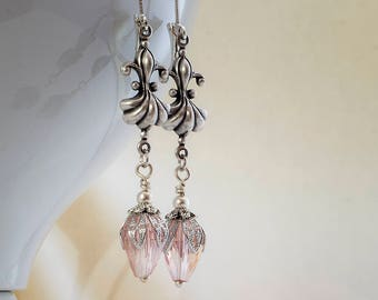 Art Deco Earrings, Edwardian Earrings, Vintage, Drop Earrings, Fleur De Lis Earrings, Crystal Drop Bead, Lever Back, Handmade, UK, Downton