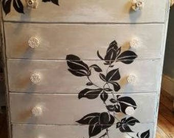 lotus blossom handpainted 5 drawer set