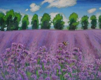 Lavender field, lavender painting, purple painting, original painting, canvas painting, original art, landscape painting, painting on canvas