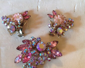 Beau Jewels Brooch and Earrings , pink,molded glass,Aurora borealis