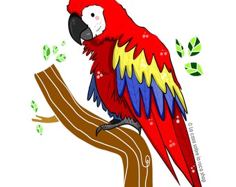 Red Parrot - Digital Illustration // little animals collection