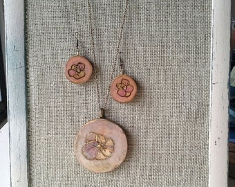 Jewelry set of 3 woodburned drop pansy pendant, hand drawn pansy earrings with hooks with a real flower necklace, chalk colored pyrography