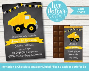 Construction Party Personalised Chalkboard Digital Birthday Invitation & Chocolate Candy Bar Wrapper Printable