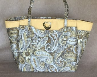 Black and Gold Paisley Tote