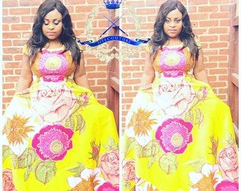 Bold Flower Rhindstone African Ankara Print Dress