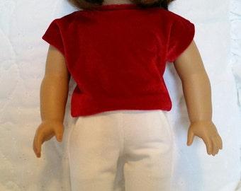 White slacks, Red Velveteen blouse made to fit American Girl Doll