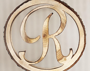 Initial cake topper, 4 inch cake topper, wooden letter,